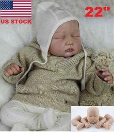 22'' Lifelike Newborn Silicone Vinyl Reborn Baby Doll Handmade Reborn Dolls Gift #Unbranded