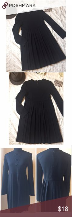 1 day sale  Long sleeve black pleated dress S Long sleeve black pleated midi dress size small. 70% Acrylic 30% Wool. Excellent condition. Dresses Midi