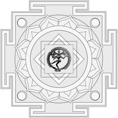 Shiva Yantra: The more complex and geometrical form of the dancing Shiva.
