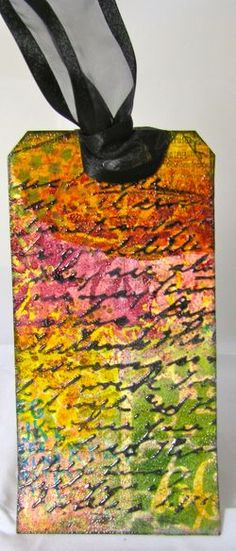 Love love love this tag! wonderful colors !mixed media tag by Marjie Kemper
