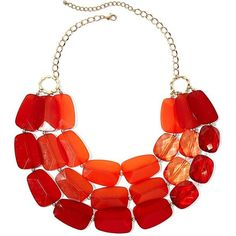 Gold-Tone & Bright Orange Tonal Bib Necklace ($20) ❤ liked on Polyvore featuring jewelry, necklaces, colar, orange, bright jewelry, orange necklace, curb link chain necklace, orange jewelry and curb link necklace
