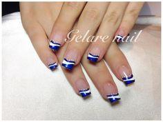 Blue Acrylic Nails, Blue Nails, French Nail Designs, Nail Art Designs, Hair And Nails, My Nails, Different Nail Designs, Pedicures, Beautiful Nail Art