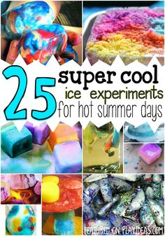 25 Ice Experiments for Hot Summer Days It's hard to get kids excited about anything when it's hot outside, so keep them cool as you experiment with ice! Summer Science, Summer Activities For Kids, Science For Kids, Fun Activities, Kids Fun, Big Kids, Science Fun, Preschool Science, Preschool Kindergarten