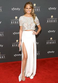 Chrissy Teigen looked elegant in white at the 2015 NFL Honors at Phoenix Convention Center on January 31, 2015.