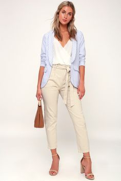 The Camille Blue and White Striped Blazer is here to take your look to a new level! Blue striped blazer with lapels and decorative welt pockets. Blue Trousers Outfit, Striped Blazer Outfit, White Blazer Outfits, Trouser Outfits, Casual Work Outfits, Trouser Pants, Work Casual, Professional Attire, Teacher Outfits