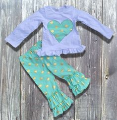 Sale! Baby Girl Outfit Toddler Girl Infant Girl Mint Green Gold Dot Heart Boutique Outfit Ruffled Pants Girl Clothes Children's Clothing
