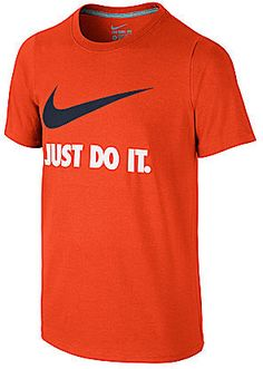 """From Nike, this casual, organic cotton tee features: short sleeves ribbed crew neckline contrasting """"Just Do It"""" graphic and Swoosh design trademark on the front rolled shoulder seams to increase range of motion soft, lightweight cotton fabric for all-day comfort. Imported."""