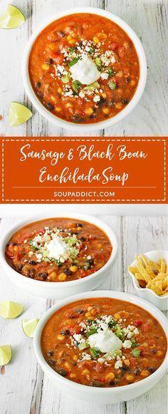 A veggie-packed comfort food soup, Sausage & Black Bean Enchilada soup is a… Red Enchilada Sauce, Enchilada Soup, Fruit Soup, Lemon Soup, Gourmet Recipes, Healthy Recipes, Black Bean Enchiladas, Hot Soup