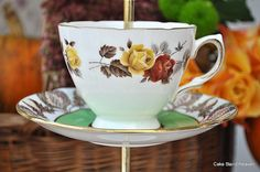 Green & Orange Teacup Topper by cake-stand-heaven, via Flickr