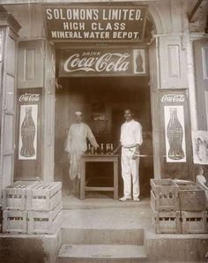 High Class shop in Rangoon, the Solomon's shop, in 1927 (I think on Merchant street). It sold Mineral Water and was the Coca Cola agent in Burma. Coca Cola Shop, World Of Coca Cola, Old General Stores, Old Country Stores, Burma Myanmar, Myanmar Travel, Nostalgic Pictures, Yangon, Modern History