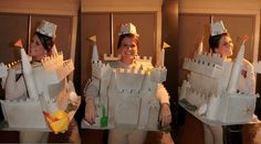 Sand Castle Costume (made from all recycled cardboard and coated with textured spray paint)