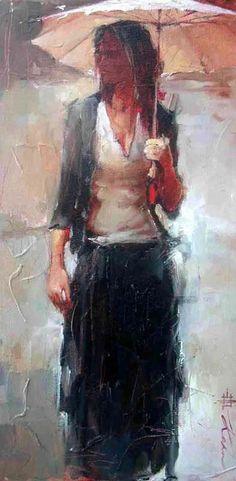 Andre Kohn 1972 | Russian-born Figurative Impressionist painter | White umbrellas