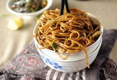 Chinese: Noodles with Sweet Ginger Scallion Sauce