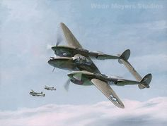 """P-38 Twin-Tailed Dragons, by Wade Meyers  P-38J #42-67842 """"Irish Lassie"""" flown by 2/Lt. William G. Baumeister, Jr.  Chittagong, India, 1944."""