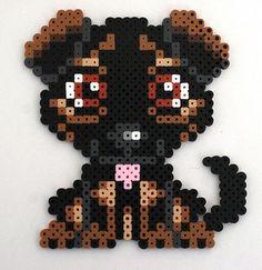 Custom Perler Bead Dog Magnet by kittendrumstick on Etsy Melty Bead Patterns, Pearler Bead Patterns, Perler Patterns, Beading Patterns, Diy Perler Beads, Perler Bead Art, Hama Beads Animals, Pixel Art, Peler Beads