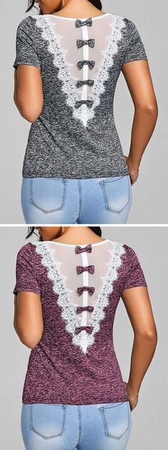 You're looking for something fun and flirty to liven up your favorite pants. And this ringer top will put a cute vibe on any outfit. With mesh, lace trim detail on the back and bowknot embellished for a feminine touch, it offers a flattering fit and timeless style. #cutetshirt