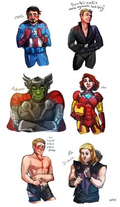 The Avengers  – Captain America – Steve Rogers  - Tony Stark - Iron Man -  Clint Barton – Hawkeye  – Natasha Romanoff – Black Widow - The Hulk – Bruce Banner - Thor