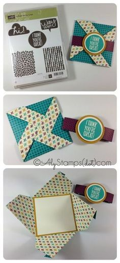 Criss Cross Fun Fold using NEW Sneak Peek Items from Stampin' Up! I Think You're Great Stamp Set, Bohemian DSP and Delightful Dijon In Color!