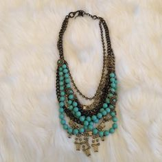 """Stella and Dot Marchesa Necklace Marchesa Necklace in perfect condition! Turquoise beads, can shorten to 15"""" or lengthen to 19"""". Hook closure. Stella & Dot Jewelry Necklaces"""