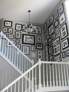 My very own family gallery wall complete! For the walls from the garage to the kitchen and the bedroom hallways. Staircase Wall Decor, Stair Walls, Stairway Gallery, Gallery Walls, Picture Wall, Photo Wall, Home Projects, Sweet Home, New Homes