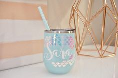 This listing is for a personalized steel wine tumbler with holographic mermaid scales. These tumblers are great for bridal parties, bachelorette parties, birthdays, christmas gifts, and so much more! The tumbler is 12 oz. double wall stainless steel material. MADE WITH REAL FOIL All