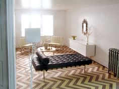 Love the chevron floor.  Find paper with the pattern and modge podge to the floor?