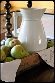 White Ironstone in dough bowl, green apples, creamer