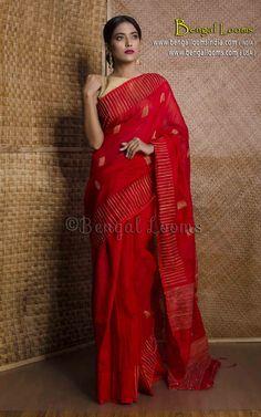 Khadi Cotton Silk Saree in Red