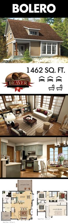 This fashionable country home may seem compact from the outside, but this bungalow is anything but that. The open concept design and vaulted ceiling of the Bolero gives a feeling of grandeur and spaciousness. #BeaverHomesAndCottages