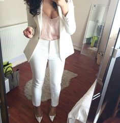 white suit with blush blouse