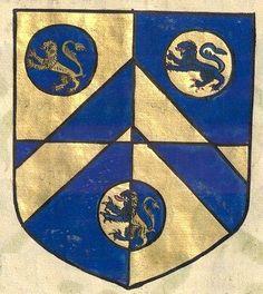 Armes de la famille Riche (p. 407) -- «Recüeil des principaux seigneurs qui passèrent la mer avec Guillaume Conquéreur d'Angleterre, et de plusieurs autres qui, après le décès dudict Guillaume, se retirèrent en Angleterre, […]», par Jean Benard, interprète du roi, 1572, France [BNF Ms Fr 19000].