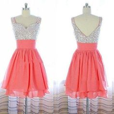 Pretty Watermelon Short Beadings Prom Dresses, Homecoming Dresses 2015, Graduation Dresses, Short Formal Dresses