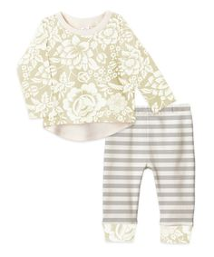 Look at this Tesa Babe Gray & Rose Stripe Retro Top & Pants - Infant on #zulily today!