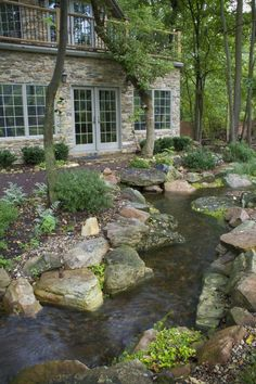 Natural looking backyard stream.