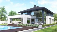 Find home projects from professionals for ideas & inspiration. Projekt domu HomeKONCEPT 60 by HomeKONCEPT Small House Design, Modern House Design, Construction Cost, Villa, Tiny House Listings, Dream House Exterior, Home Projects, Mansions, House Styles