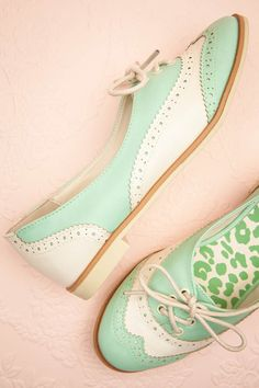 ''A touch of fantasy in a classic shoe is the proof that you are a fairy hidden in the form of a charming damsel'' Mint colored shoes from 1861 boutique.