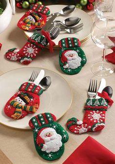 Moldes para hacer portacubiertos navideños en fieltro07