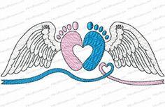 Kris Rhoades Angel Babies/Infant Loss October Gold Thread Design Downloads - The Applique Circle