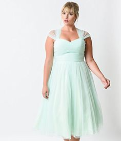 Fashion Bug Vintage Plus Size Mint Green Garden State Mesh Cocktail Dress www.fashionbug.us #plussize #Retro #FashionBug #Vintage #Rockabilly #PinUp