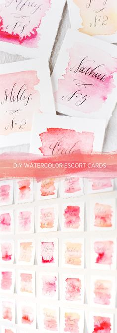 Watercolor Escort Card Tutorial - these would make neat DIY valentines day cards also