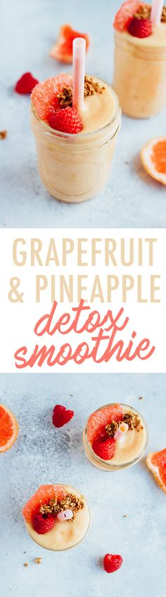 Smoothie Recipes Banish bloating and boost your metabolism with this delicious Grapefruit DETOX Smoothie - This grapefruit pineapple detox smoothie is loaded with nutrients to help diminish bloating, boost your metabolism and get you feeling your best! Fruit Smoothies, Healthy Smoothies, Healthy Drinks, Smoothie Recipes, Smoothie Ingredients, Healthy Yogurt, Vegan Yogurt, Grapefruit Smoothie, Smoothie Detox