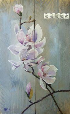 Magnolia. Harmpje Bakker. Geschilderd op steigerhout Acrylverf 40 x 60 cm