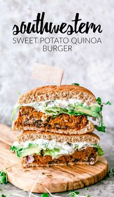 Southwestern Sweet Potato Quinoa Burger is part of Southwestern Sweet Potato Quinoa Burger Killing Thyme - This Southwestern Sweet Potato Quinoa Burger is sweet, smokey, and slathered with creamy queso blanco for a burger you'll crave on the reg Gourmet Sandwiches, Gourmet Burger, Burger Food, Vegetarian Sandwiches, Vegetarian Recipes Dinner, Vegan Dinners, Lunch Recipes, Vegan Recipes, Vegetarian Food