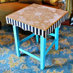 Trash-to-Treasure side tables made from old chairs! #MarkMontano #MakeYourMark #RoadsideRescue #DecoArt #EclecticProducts #furnitureDIY #TrashtoTreasure