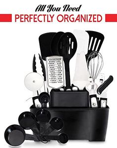 Dreaming About All Your Kitchen Tools Organized COMPLETE 22 Stainless Steel Home Kitchen Tools and Gadgets Set  Tools Holder by GR Kitchen >>> You can find more details by visiting the image link.