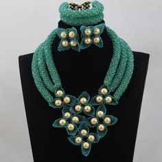 Fantastic Teal Green Wedding Nigerian Beads Jewelry Set Gold Statement Bridesmaid Party Necklace Set