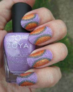 Concrete and Nail Polish: Mid Century Mod Gravel Nail Art With Zoya Pixie Dusts