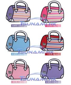 3D 2D Cartoon Comic Hand Bag Natty Different Colors