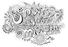 Unwind Your Mind Coloring Page Adult Zendoodle Art Therapy Book Printa