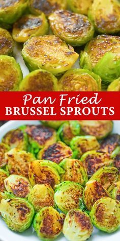 Pan Fried Brussel Sprouts - Fork-tender Pan Fried Brussel Sprouts ready in 15 minutes. It makes a perfect side dish for any occ - Side Dish Recipes, Vegetable Recipes, Healthy Dinner Recipes, Vegetarian Recipes, Cooking Recipes, Vegan Vegetarian, Vegetable Entrees, Pan Fried Brussel Sprouts, Roasted Sprouts